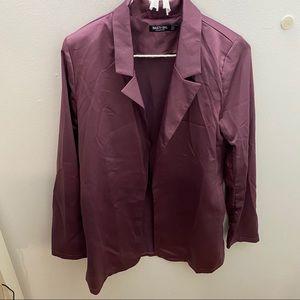 Purple satin blazer
